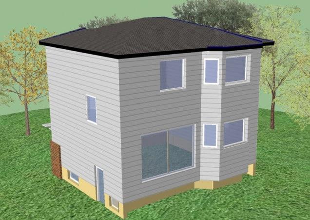 render fachada de casa de madera