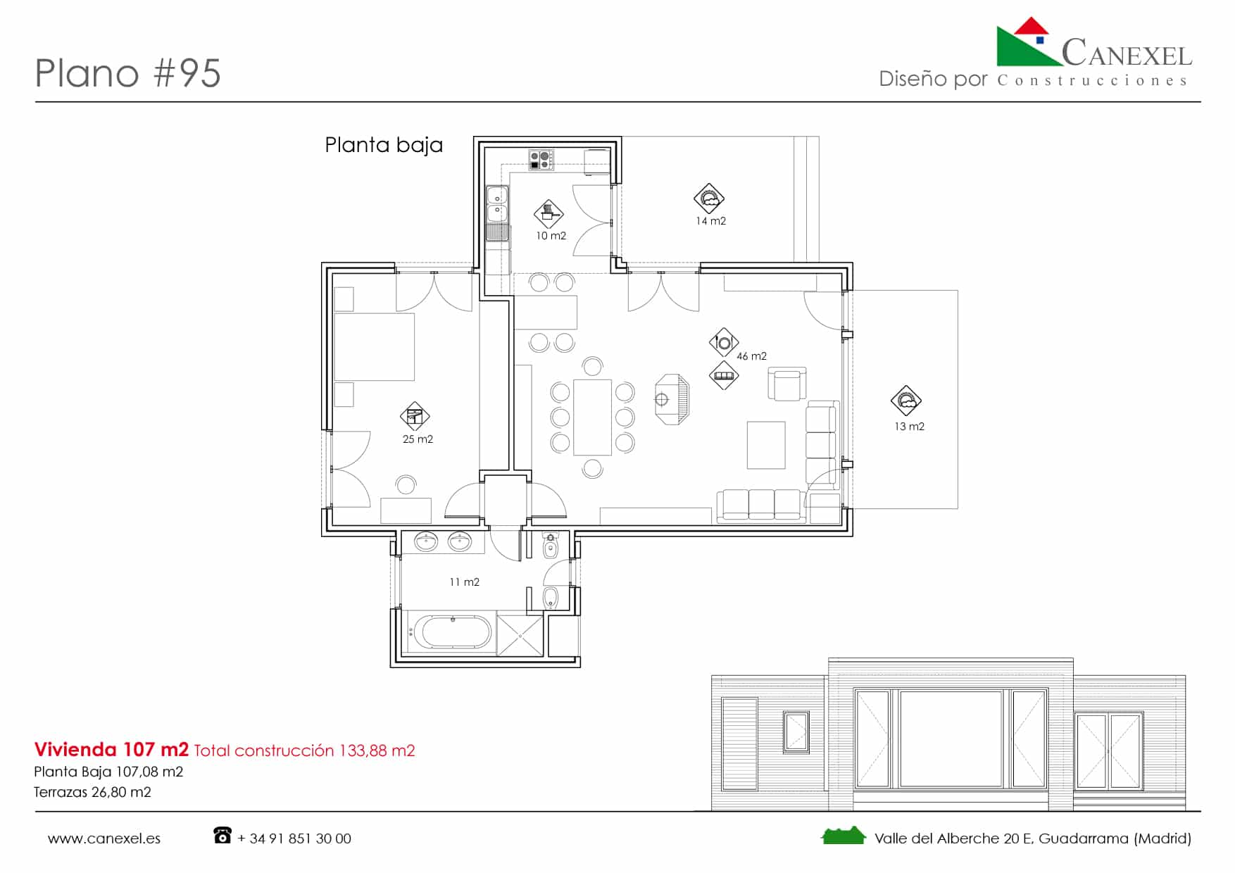 Planos de casas de una planta canexel for Planta arquitectonica biblioteca