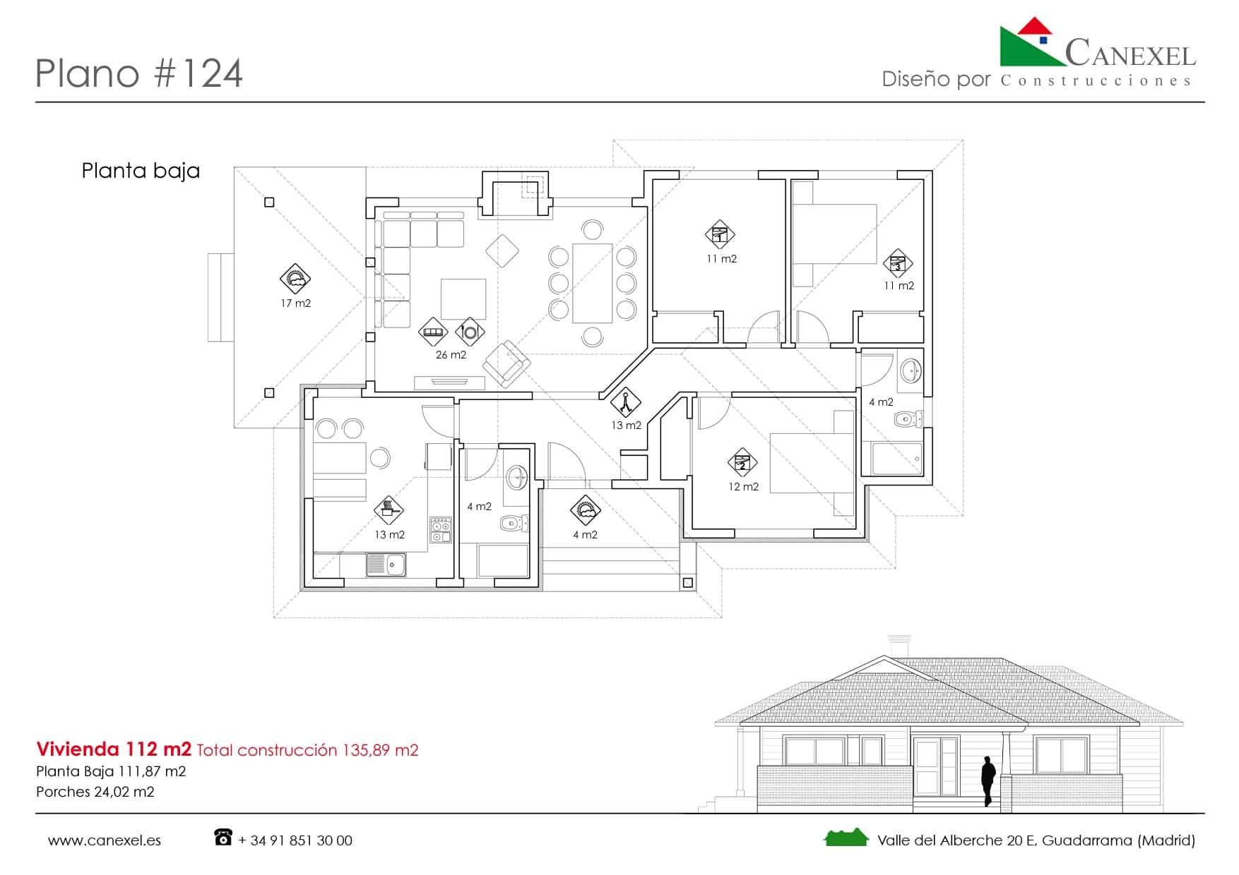 Planos de casas de una planta canexel for Ver planos de casas de una planta