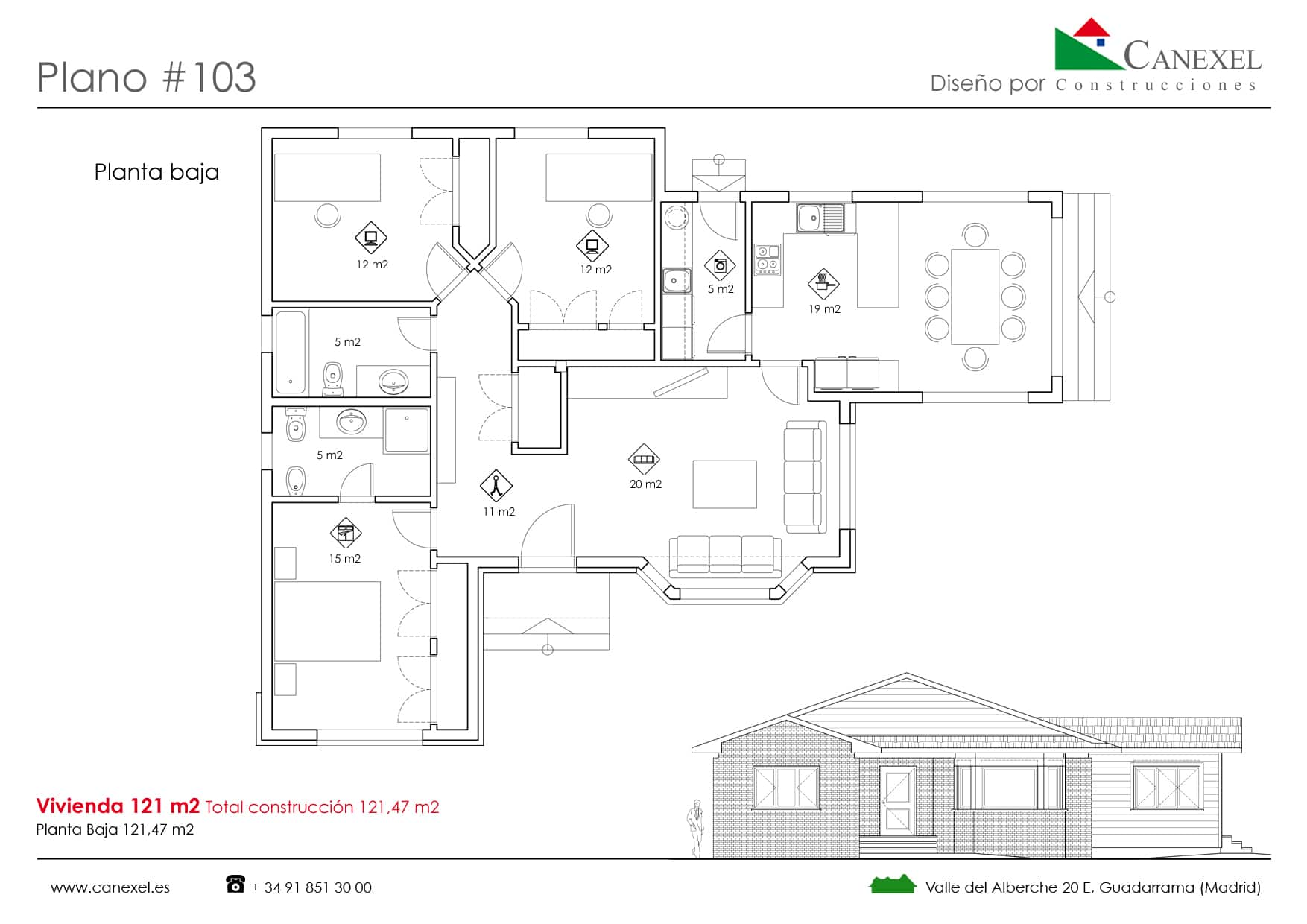 Planos de casas de una planta canexel for Casa moderna 50 metros cuadrados