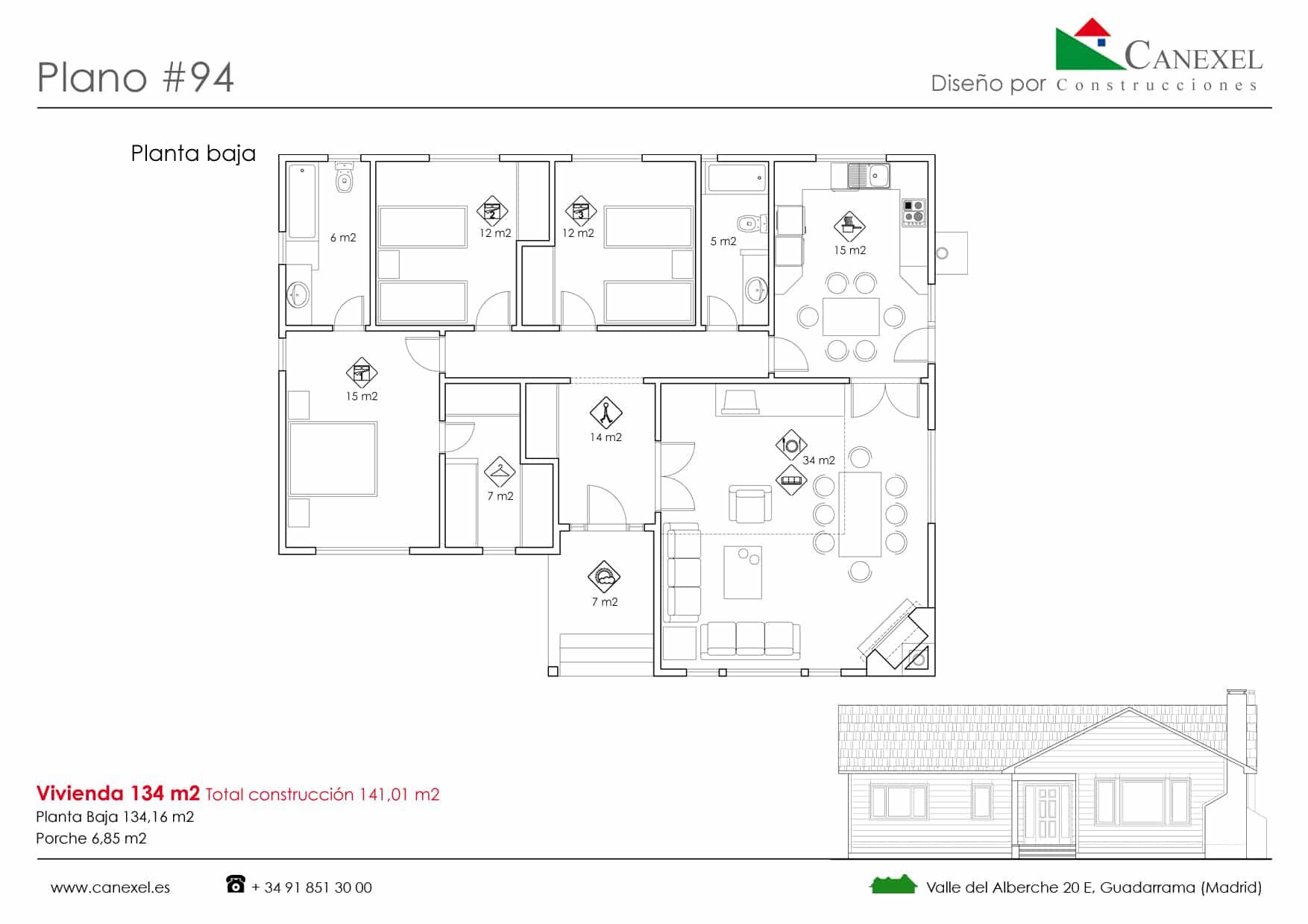 Planos de casas de una planta canexel for Plano casa una planta