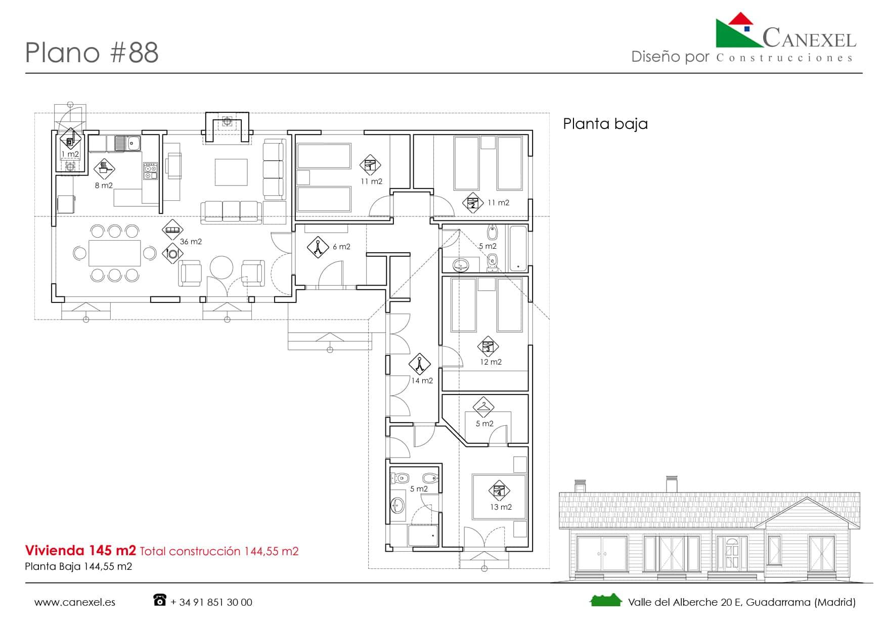 Planos de casas de una planta canexel for Casas en ele planos