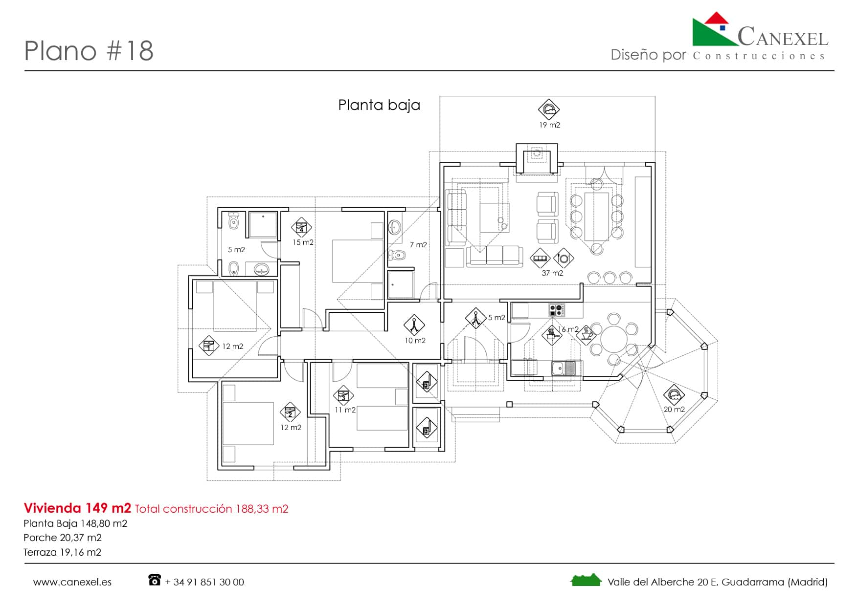 Planos de casas de una planta canexel for Disenos de casas 120 m2