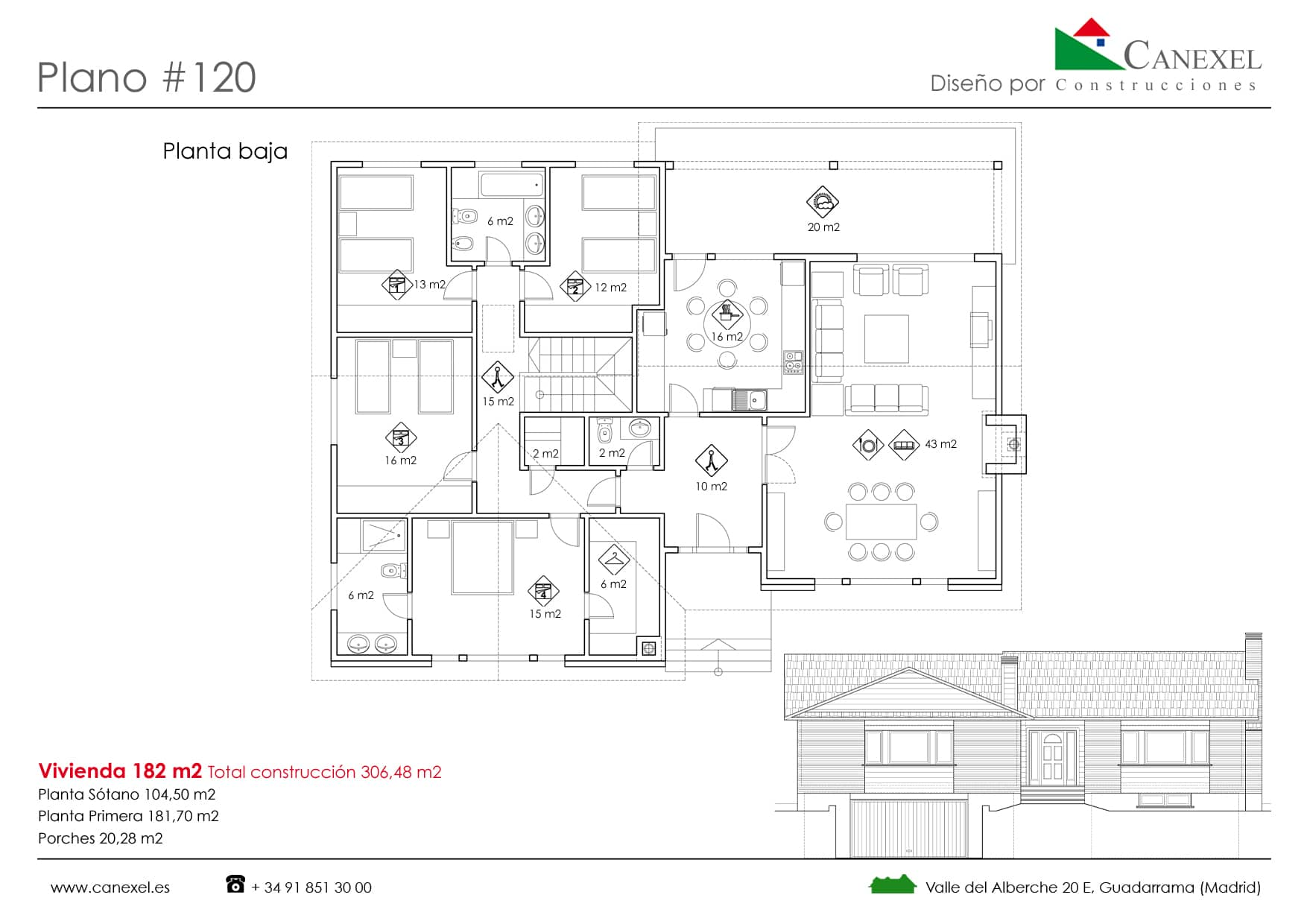 Planos de casas de una planta canexel for Planos de casas de una planta 4 dormitorios