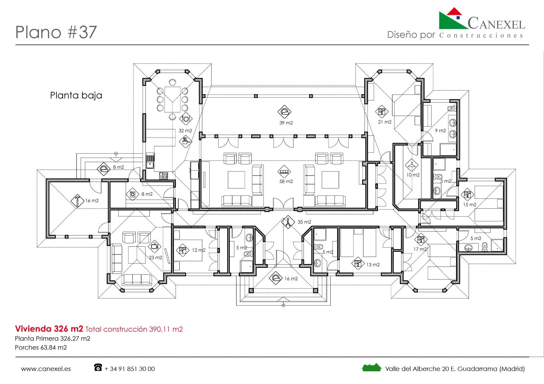 Planos de casas de una planta canexel for Distribucion piso 90 metros