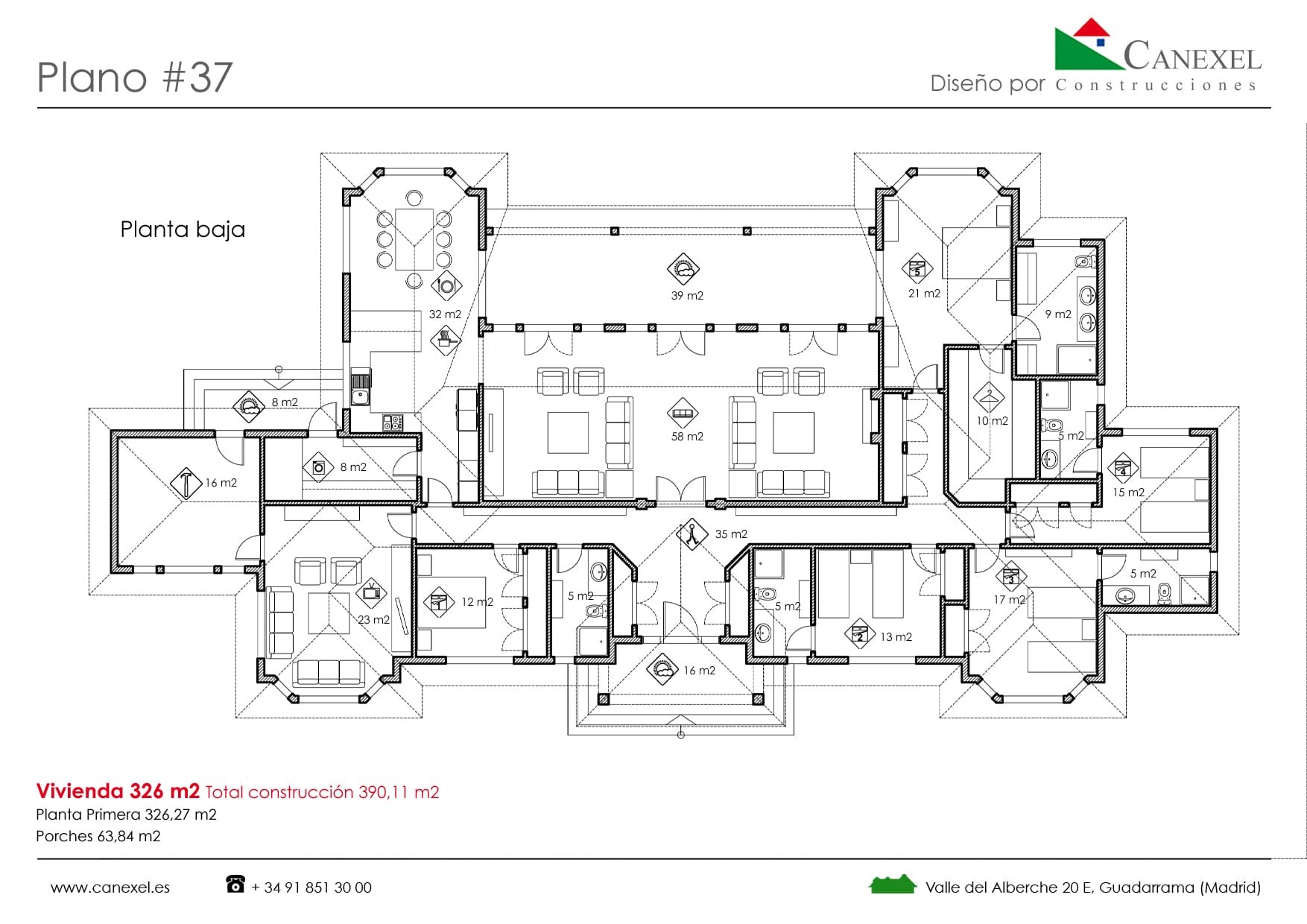 Planos de casas de una planta canexel for Planos casas modernas 1 planta