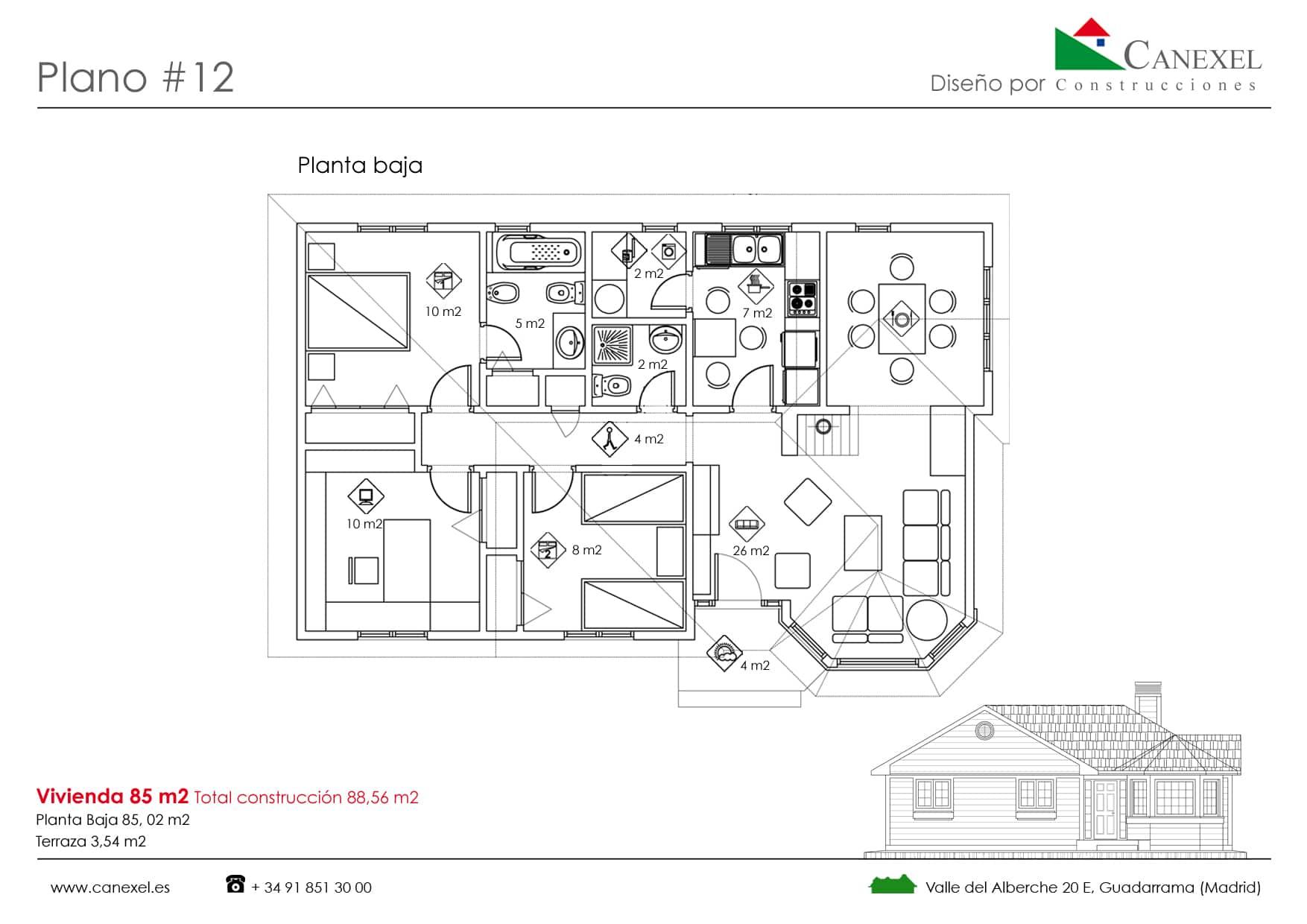 Planos de casas de una planta canexel for Casa moderna 80 metros cuadrados