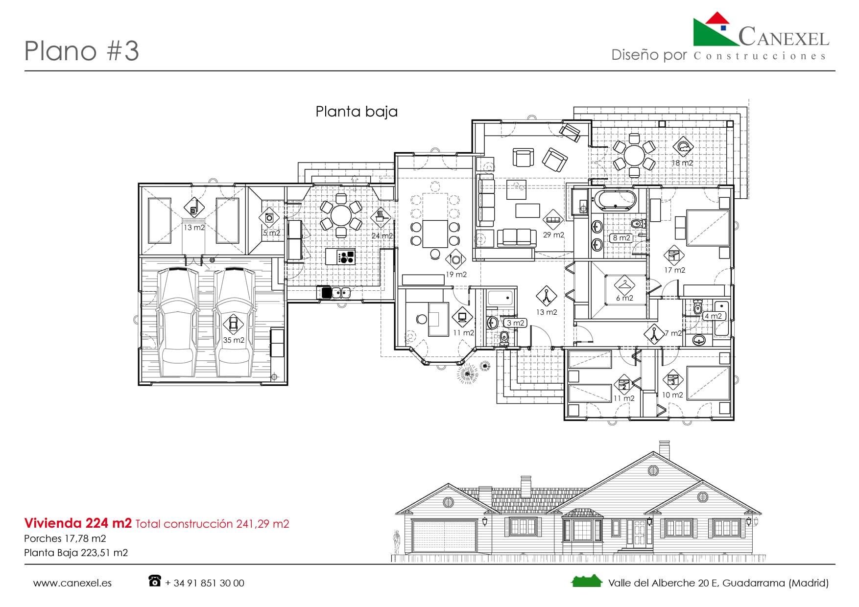 Planos de casas de una planta canexel for Diseno de casa de 7 x 17