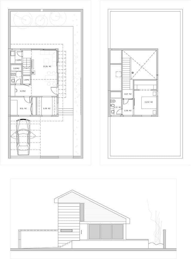 diseño casa en parcela pequeña boceto alzado