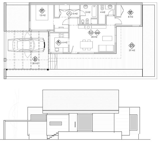diseño casa en parcela pequeña planta alzado.jpg