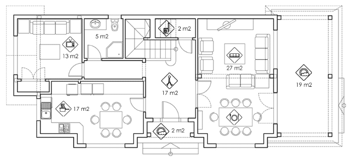 Casa de planta baja con porche decoarq arquitectura for Diseno casa planta baja