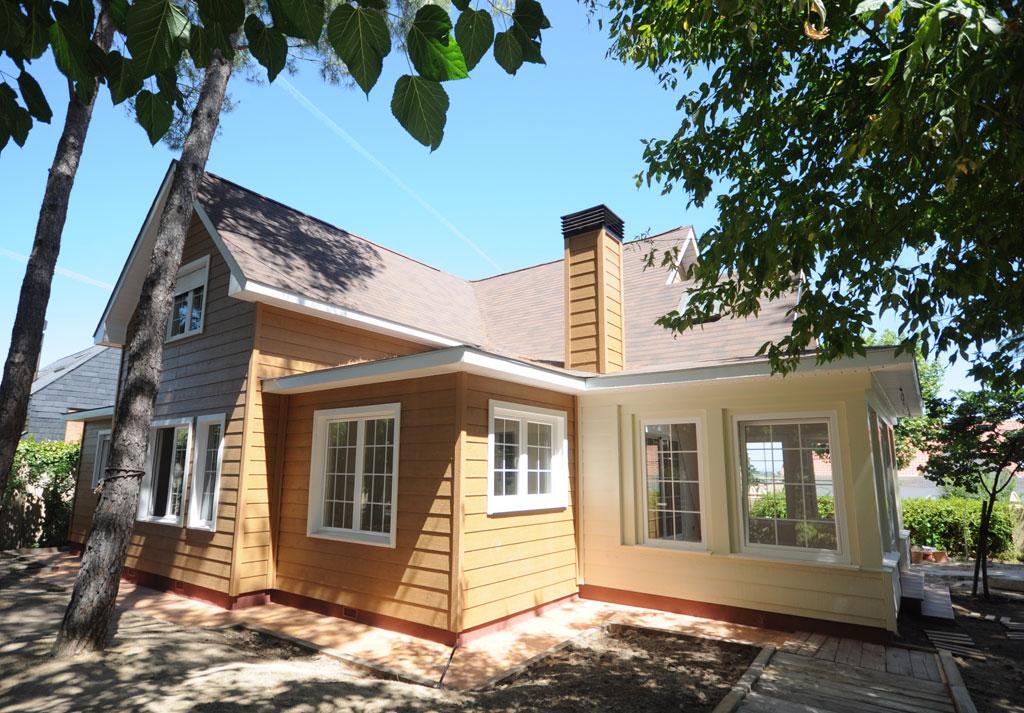 Ampliacion casa madera terminada 1 for Canexel construcciones