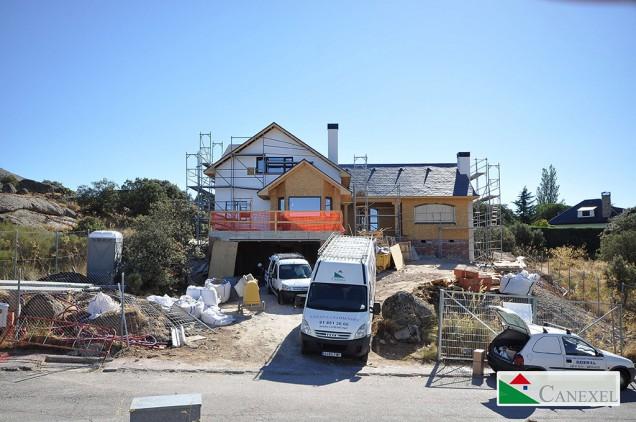 fachada principa en obra casas-de-madera-segovia