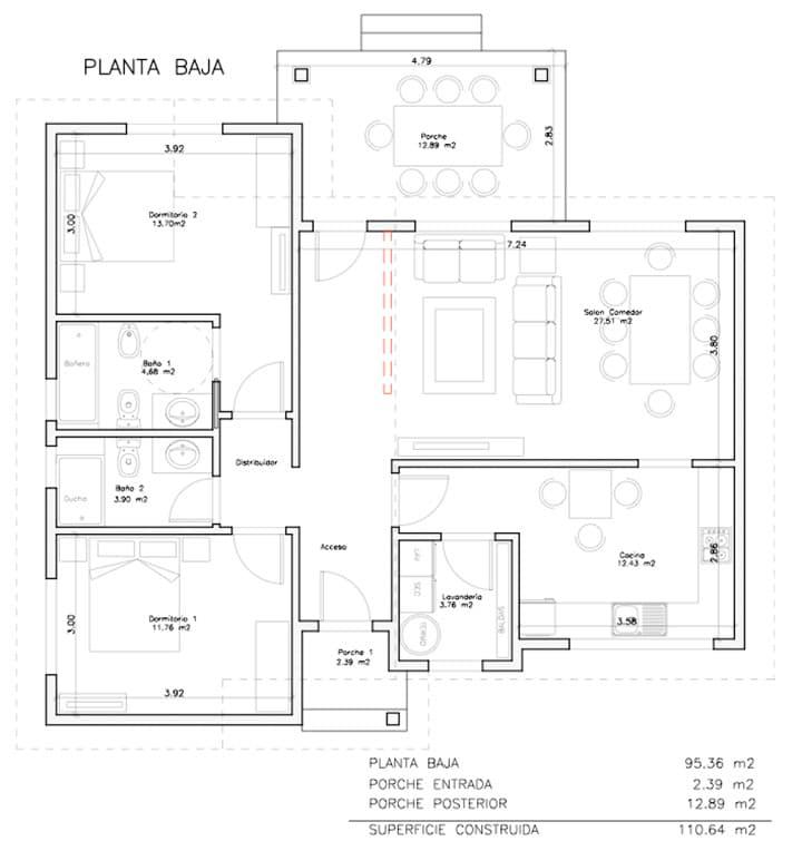 plano casa de madera