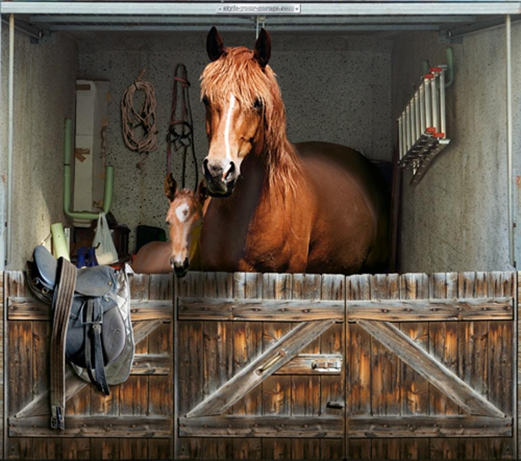 puerta garaje caballo