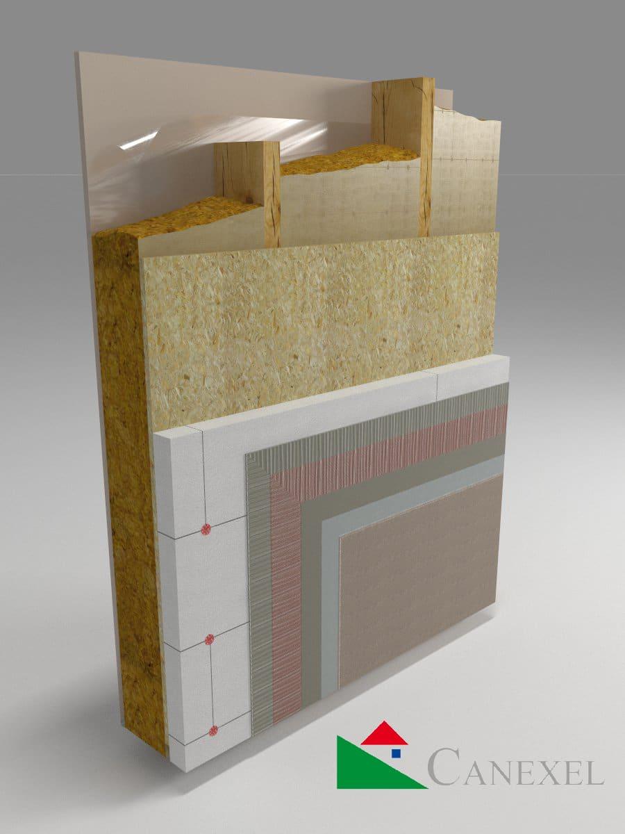 Muro mortero acrílico multicapa