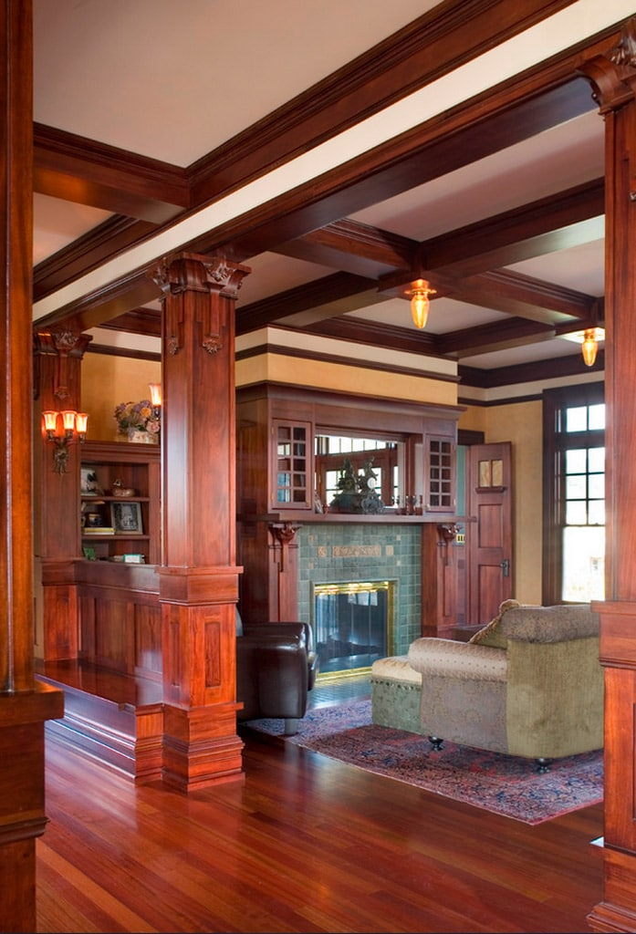 Craftsman arquitectura con personalidad canexel - Pictures of columns in living room ...