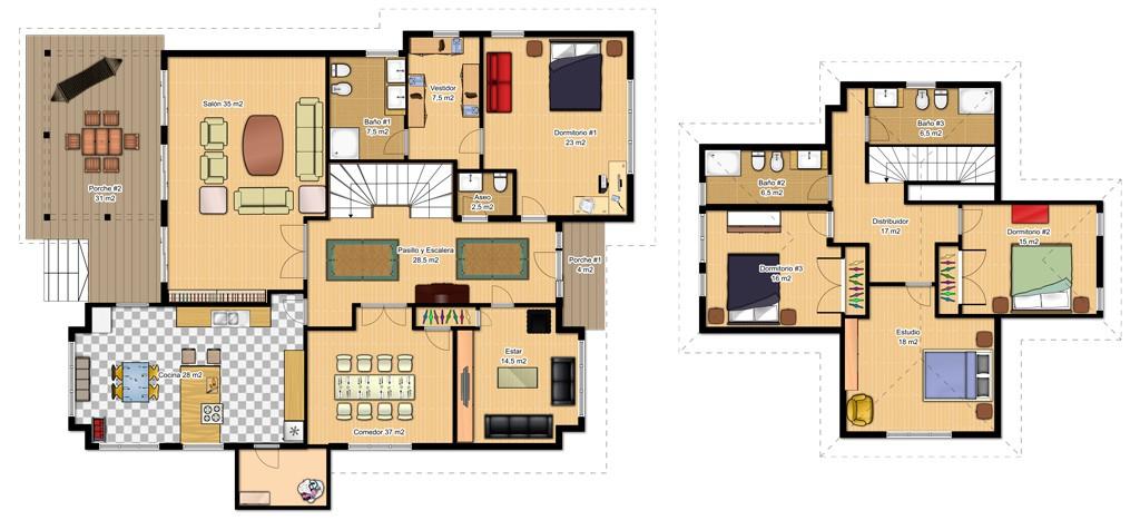 plano de casa de dos plantas-con-dormitorio en planta baja