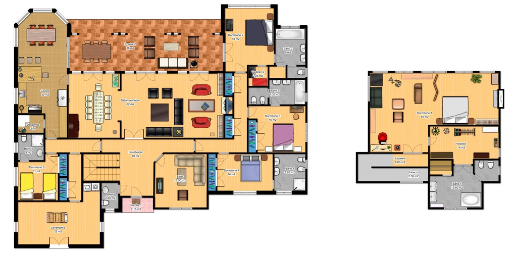 Plano de casa de lujo de dos plantas