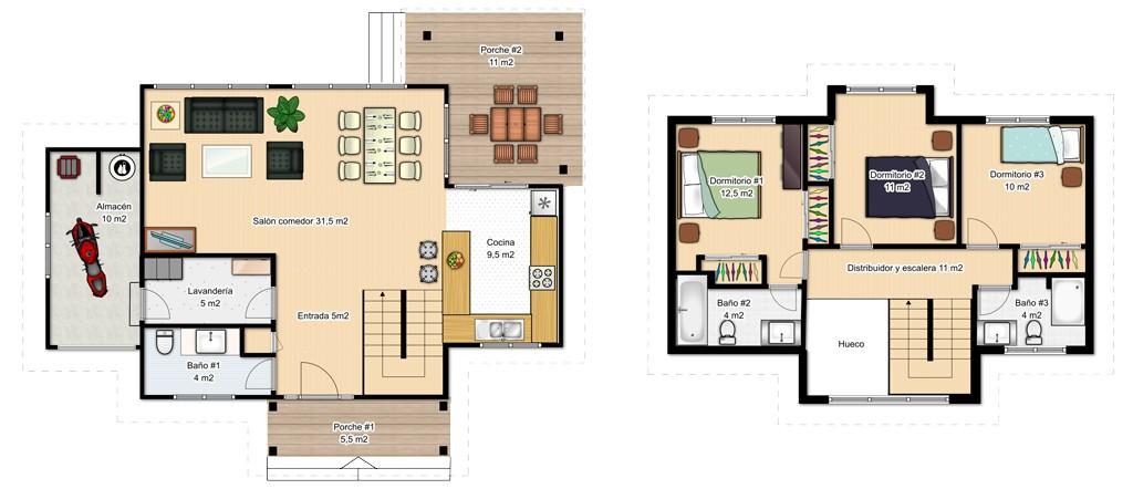 Casas de dos pisos canexel for Planos de casas de dos pisos con medidas