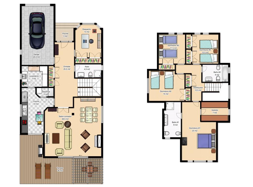 Casas de dos pisos canexel for Planos de casas de 2 plantas