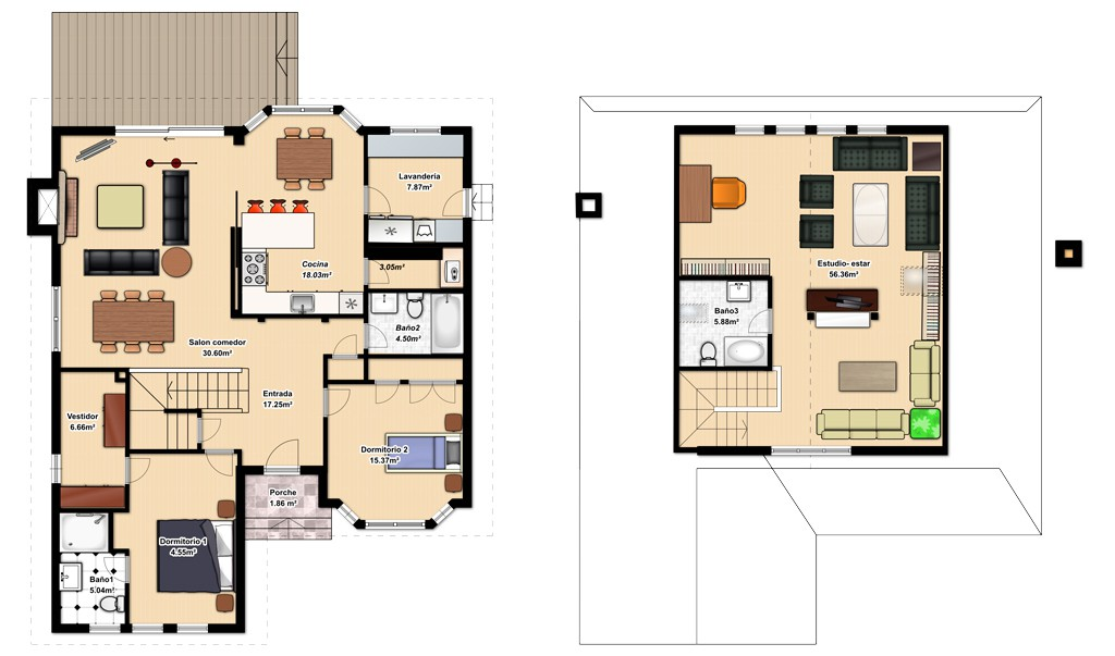 Planos de casas de dos plantas y tres dormitorios - Planos de casas de 2 plantas ...