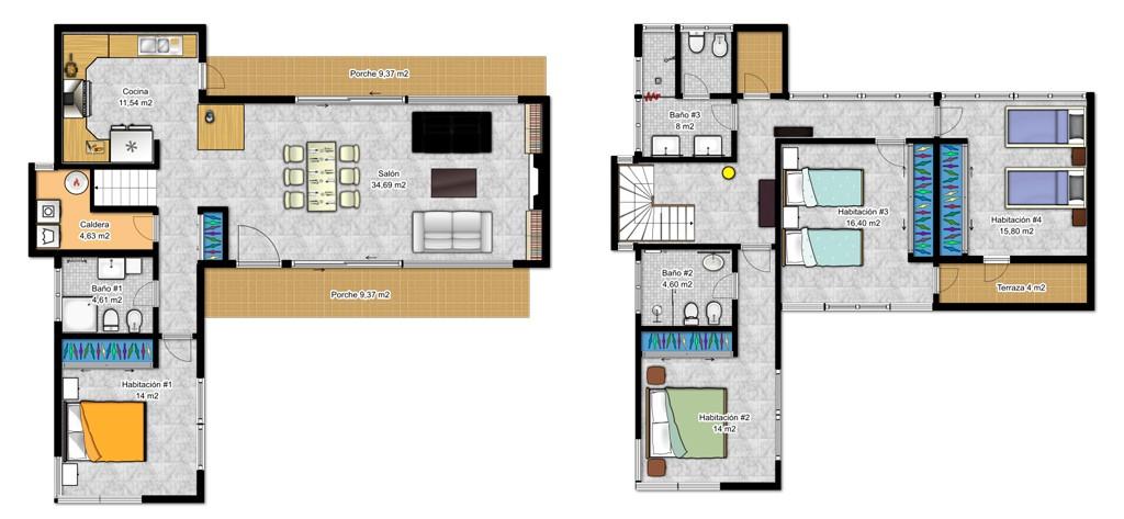 Casas de dos pisos canexel for Plantas arquitectonicas minimalistas