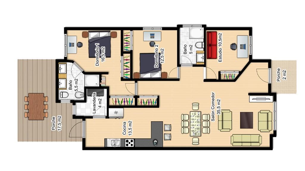 Planos casas planta baja 3 dormitorios cool plano de - Planos de casas de planta baja ...