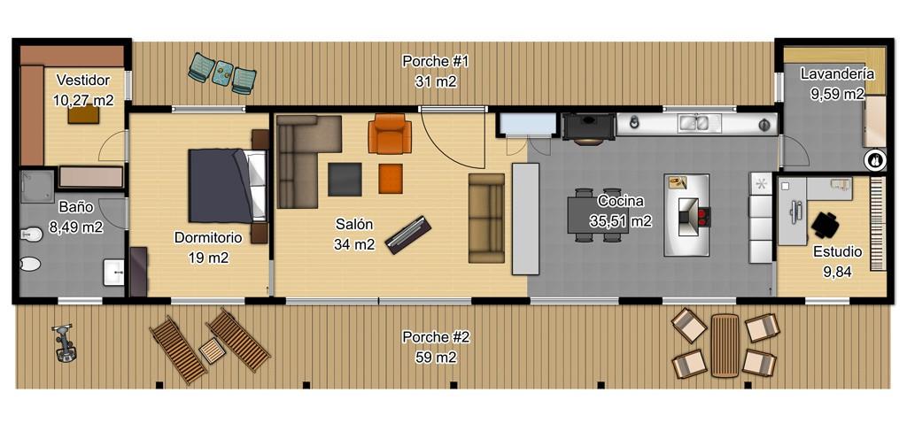 Casa de una planta de un dormitorio