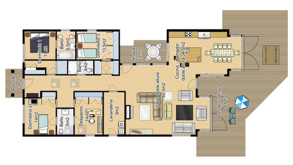 Planos de chalet de dos plantas top plano de casa de dos for Planos de chalets