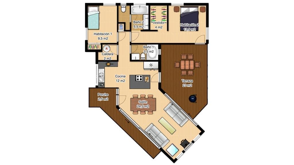 Casas de una planta canexel for Plano casa minimalista 1 planta