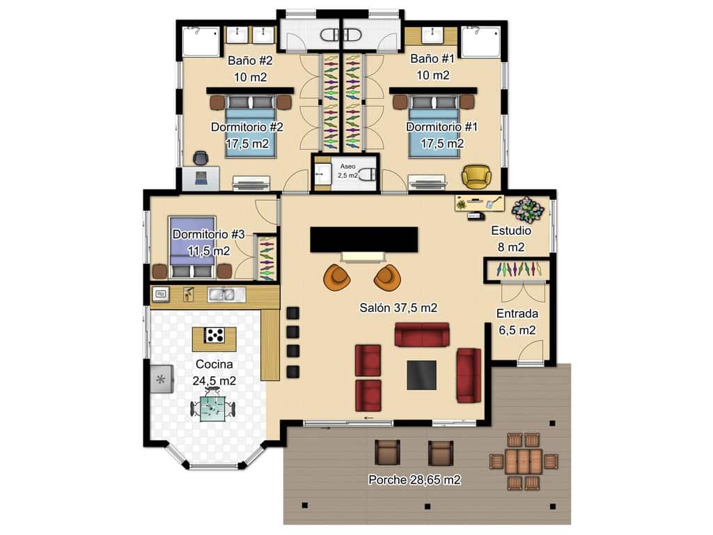 Casas de una planta canexel for Plano casa un piso