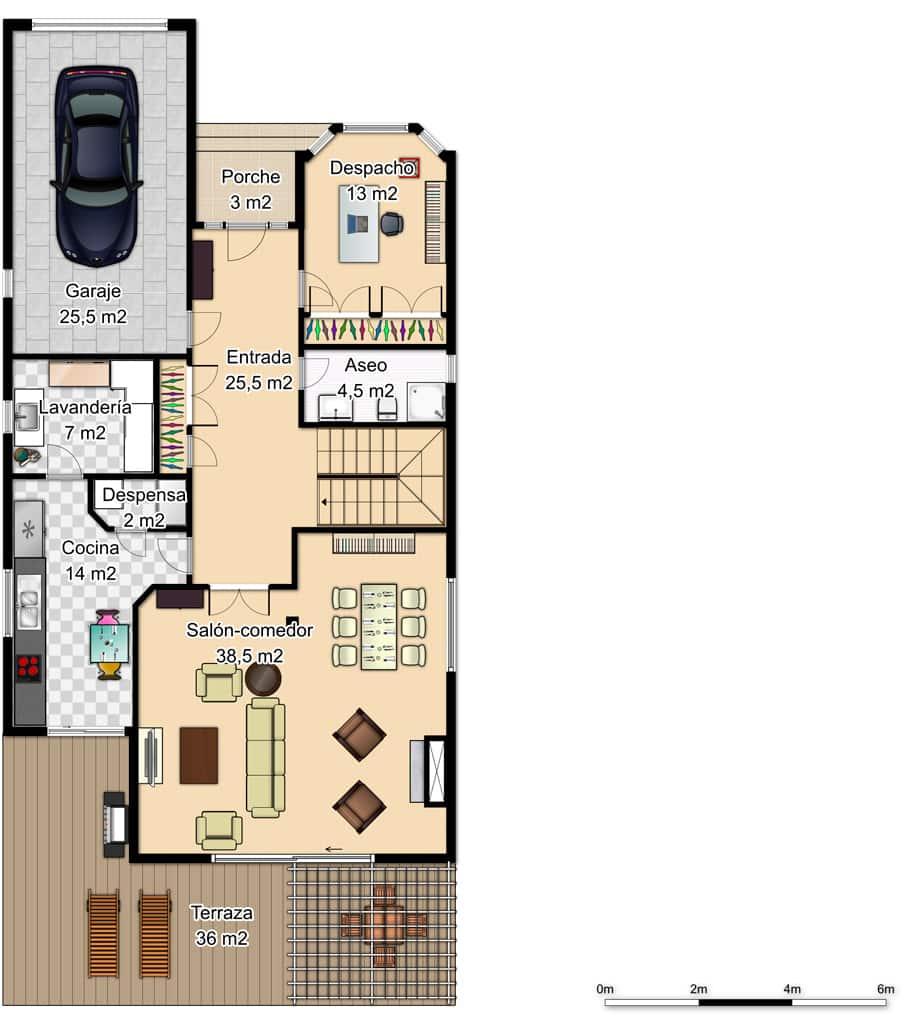 plano planta baja casa de madera