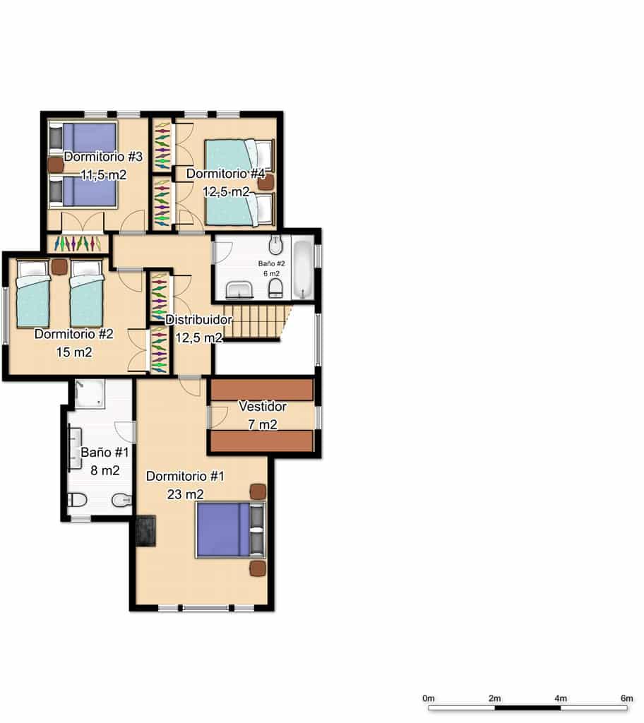 plano primera planta casa de madera