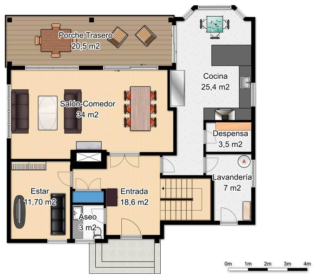 plano de casa angosta de dos pisos tres dormitorios y 75