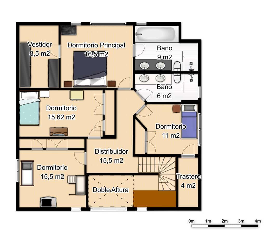 plano primera planta casa Caroline