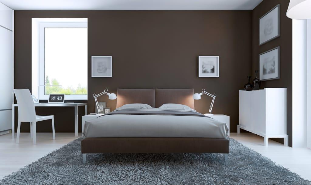 dormitorio en color oscuro