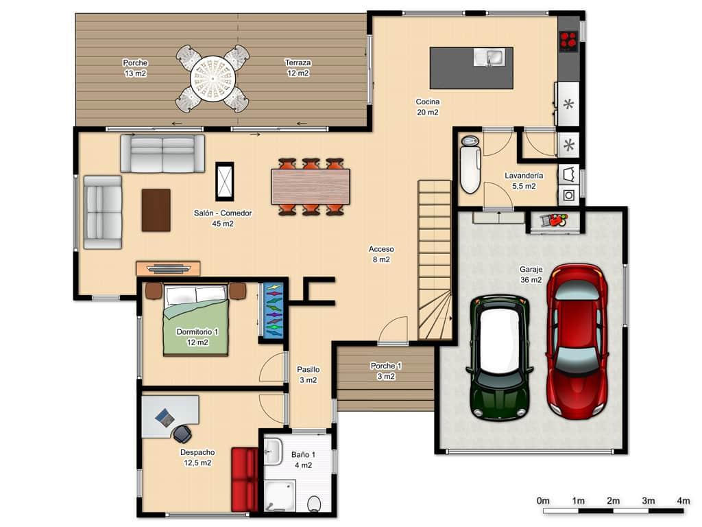 Casa terrace canexel for Planos de casas de 2 plantas