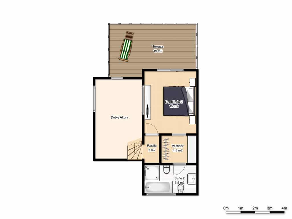 plano primera planta casa moderna