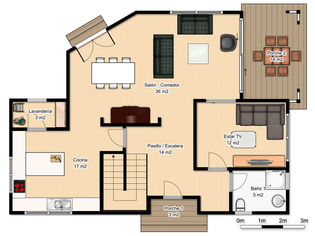 Casa hudson canexel for Diseno casa planta baja