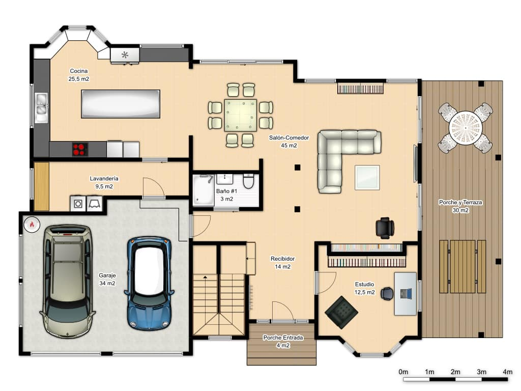 plano planta baja de casa americana
