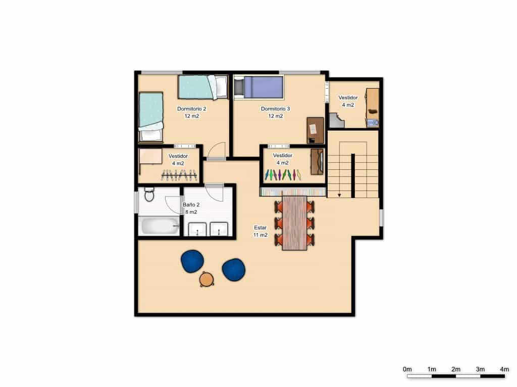 Plano primera planta casa Hutton